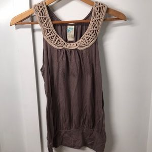 Anthropologie sleeveless blouse with braided neck